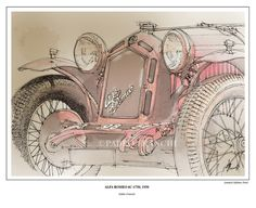 """Only 50 ever published worldwide. Shipping all over the world. A Signed Fine Art Limited Edition Print from my original drawing """" Alfa Romeo 6C-1750, 1930 """" It is printed on acid free 200/230grs.paper, professional quality Paper size: about.11x14 inches ONLY 50 EVER PUBLISHED WORLDWIDE Signed and Numbered by the artist Certificate of Authenticity handwritten included http://www.etsy.com/listing/93606640/car-portraits-alfa-romeo-6c-1750-1930"""
