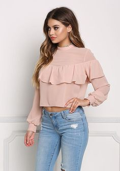 Blush Ruffle Layered Chiffon Blouse - New