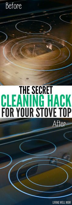 Finally get your stove top sparkling clean with this handy cleaning hack! Car Cleaning Hacks, Bathroom Cleaning Hacks, Household Cleaning Tips, Kitchen Cleaning, Cleaning Products, Cleaning Flat Top Stove, Clean Stove Tops, Clean Glasstop Stove, Glasstop Stove Cleaner