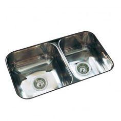 Johnson bacha doble Pileta de Cocina 64X37X18 cm R63/18CR con rebalse acero 304