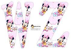 Alfabeto de Minnie Bebé con fondo en rosa y blanco.