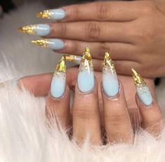 Blue + golden nails