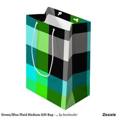 Green/Blue Plaid Medium Gift Bag - Glossy