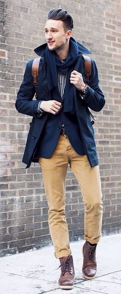 Navy Coat, Mustard Jeans, and Brown Boots. Mens Fall Winter Street Style Fashion. | More outfits like this on the Stylekick app! Download at http://app.stylekick.com