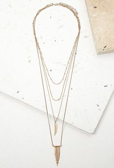 Layered Faux Stone and Matchstick Necklace | Forever 21 - 1000130290