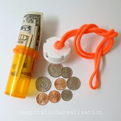 Stash some cash in an empty pill bottle, and put it around your neck. That will keep it safe, but it doesn't matter if it gets wet. (See more pill bottle hacks! Prescription Bottles, Pill Bottles, Medicine Bottles, Plastic Bottles, Cool Diy, Easy Diy, Pill Bottle Crafts, Beach Hacks, Beach Ideas