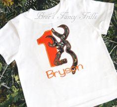 Personalized Birthday Shirt, embroidered buck deer head, camo, camouflage, boys on Etsy, $20.00