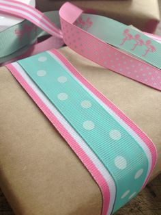 Aqua and pink ribbons Aqua, Pink Ribbons, Memorable Gifts, Grosgrain Ribbon, How To Memorize Things, Polka Dots, Wraps, Gift Wrapping, Cook