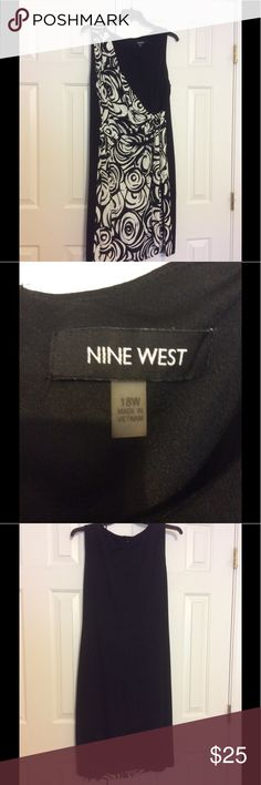Nine West Dress Nine West dress with design on front and ties on side of dress with round neckline and Sleeveless with zipper in back  Nine West Dresses Midi