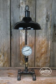 I made this table lamppencil holder from old motorcycle parts i steampunk industrial lamp with 10 shade mozeypictures Images