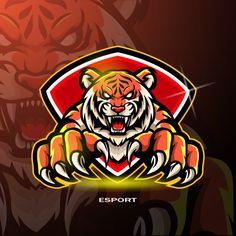 Tiger Mascot For Gaming Logo. Logo Esport, Art Logo, Cartoon Panda, Cute Cartoon Animals, Cute Animal Illustration, Tree Illustration, Crocodile Cartoon, Gaming Logo, Tiger Logo