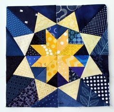 free paper pieced star block - Diamond in the rough by Quilting on the Square