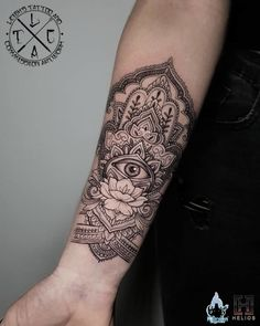 55 Spiritual Hamsa Tattoo Meaning and Designs Symbol Buddha Tattoos, Forearm Tattoos, Body Art Tattoos, Hand Tattoos, Irezumi Tattoos, Tattoos Mandalas, Mandala Wrist Tattoo, Henna Arm Tattoo, Mandala Sleeve