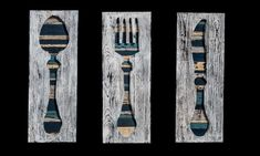 Kitchen wood wall art decor set of 3 - Transylvania Wood Wood Wall Art Decor, Wooden Painting, Wood Texture, Recycled Wood, Wood Pieces, Wood Paneling, Home Art, Decorating Your Home, Color Mixing