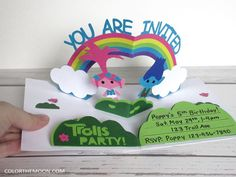 Planning a Trolls birthday party and searching for the perfect Trolls invitation? Try making this POP-UP Trolls invitation and impress all your guests! - With FREE printable!
