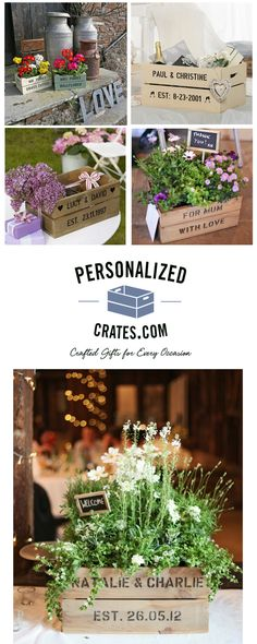 Give a gift to remember - for any anniversary or wedding, our Personalized Crates are ideal for planters, table centerpieces, or card boxes.