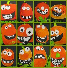 my old stand by lesson. but still one of my favorites ever. my favorite thing about these is always the teeth. and the shades of orange. and the lime green they create. i can't decide.     kindergarten.   circles/ovals--filling the space  color mixing (red + yellow = orange, and blue + yellow = green)  glue/collage technique  cutting  following directions