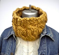 Cowl Neckwarmer Mustard Gold Bulky Cable Knit by GrievousAngelDesigns, $29.00