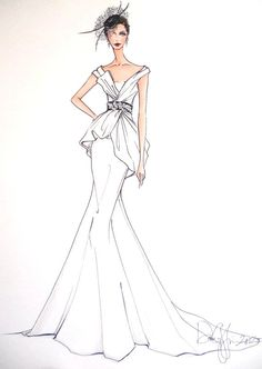 Custom Wedding Gown Illustration FRONTAL by IllustrativeMoments, $195.00