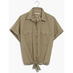 MADEWELL Embroidered Tie-Front Safari Shirt ($35) ❤ liked on Polyvore featuring tops, blouses, shirts, ash green, green blouse, embroidery blouses, shirt blouse, embroidered shirts and brown blouse