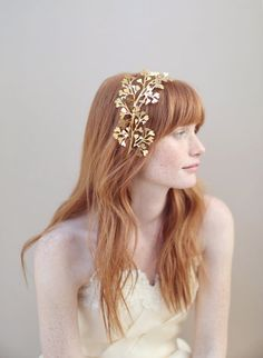 Gold Bridal headband headpiece fern leaves   Maidenhair