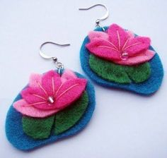 Fabric Earrings, Fabric Beads, Diy Earrings, Textile Jewelry, Fabric Jewelry, Jewellery, Felt Diy, Felt Crafts, Felt Necklace