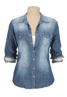 Medium Wash Button Down Denim Shirt available at #Maurices