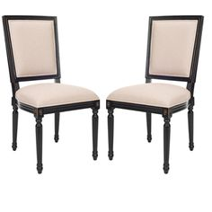 Provincial Carved Mahogany Light Grey/ Black Side Chairs (Set of 2) | Overstock.com 285 pr (out of stock) or HSN 360 (GREAT to add studs to)