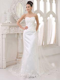Robe de mariage foureau au perlage en satin avec des appliques en coeur - Milanoo.com