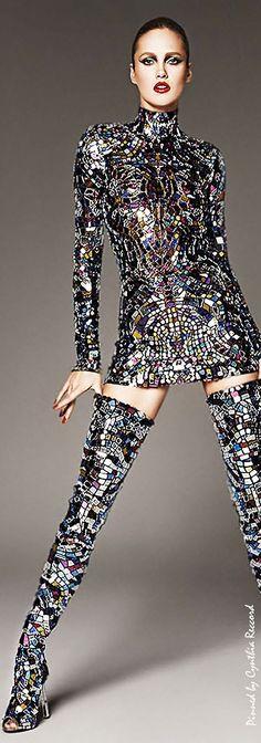 Karmen Pedaru in Tom Fords Multicolor broken-mirror Mini Dress  Thigh-High Boots SS 2014 | cynthia reccord