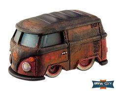 Custom Hot Wheels Patina Kool Kombi. Nothing like a rusty Volkswagen. :)