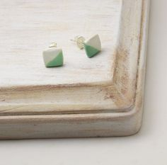 Square Mint Posts Mint Earrings Polymer Clay by PureImpressions, $9.25