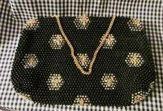 Black Corde-Beade Dressy Evening Bag / Purse by trackerjax on Etsy