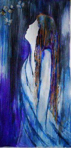 Lep kék. Akvarell, karton, 42x25cm.