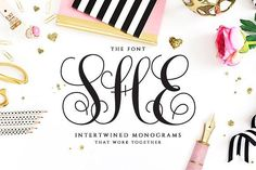 Intertwined Monogram She Font by pixelbypixel on @creativemarket