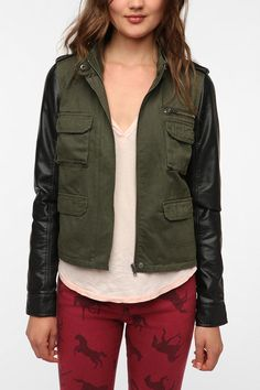 """Check out Tori P's """"Staring at Stars Faux Leather Sleeve Surplus Jacket"""" decalz @Lockerz http://lockerz.com/d/19534513?ref=heyitslinh"""