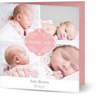 Personalised Baby Girl Thank You Cards $1.19 www.mamadoo.com.au #mamadoo #personalisedcards #thankyoucards