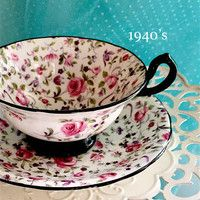 Antique Chintz Tea Cup, Royal Chelsea Teacup and Saucer, Antique Tea Cup and Saucer, Pink and Black, Hand Painted Christmas Gift for Mother