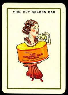 """Cigarette Advertisment Card - Mrs Cut Golden Bar Wills's Cigarettes """"Happy Families"""" advertisment card (set of 32 issued in 1939)"""