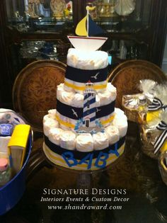 Commander's wife just had a baby, may have to make a Navy diaper cake for them  :)