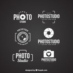 Logos of photo studio Free Vector