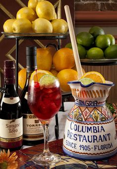 Sangria recipe from the Columbia Restaurant  Ingredients    1 bottle Spanish red wine (Sangre de Toro)  ¼ cup Spanish brandy  2 tablespoons lemon juice  2 tablespoons orange juice  1 tablespoon sugar  1 cup club soda  1 sliced lemon  1 sliced orange  2-3 whole cherries    Mix all ingredients in a large pitcher. Stir with a wooden spoon until well mixed. Pour into large wine glasses. Garnish with orange slices and cherries. Add ice to pitcher. Serves 4.