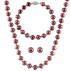 ON SALE $76.96! Burgundy, the color that flatters every skin tone, is the choice for the magnificent Merlot Pearl Necklace, Earrings, & Bracelet Set. This matching necklace, bracelet and earrings combine rich burgundy colored freshwater pearls with silver bead accents. These elegant pearls will complement your jewelry wardrobe in every season from the pink and white of spring and summer, to the deep russet and red of fall, to the grey, black and navy of winter.