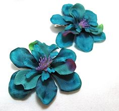 Pair of Teal Blue Green Hair Flower Clips -- Continue to the product at the image link.(This is an Amazon affiliate link)