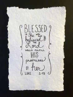 Custom Hand Drawn Scripture Art Luke 1:45 by LovelyIntentions