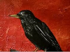 ... Art Painting, Mixed Media Bird Artwork - Black Bird II - Thumbnail 1