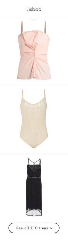 """Lisboa"" by babemagnet ❤ liked on Polyvore featuring tops, light pink, lace trim camisole, lace trim tank top, lace trim tank, strap tank, spaghetti-strap tank tops, intimates, shapewear and dresses"