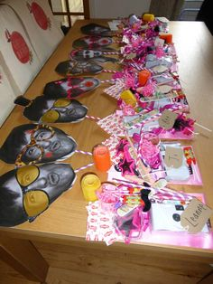 Hen party goodie bags!   -Funny masks of the groom  -Disposable cameras -Sunglasses -Party feet -hair rollers  -sweets  -Willy Straws (of course)  -Necklace shot glasses -Sashes