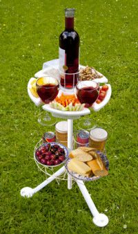 Snackstand plus bottle holder and drinks holder - Perfect for picnics, alfresco dining and camping!!