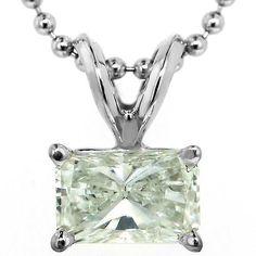 radiant cut diamond solitaire pendant